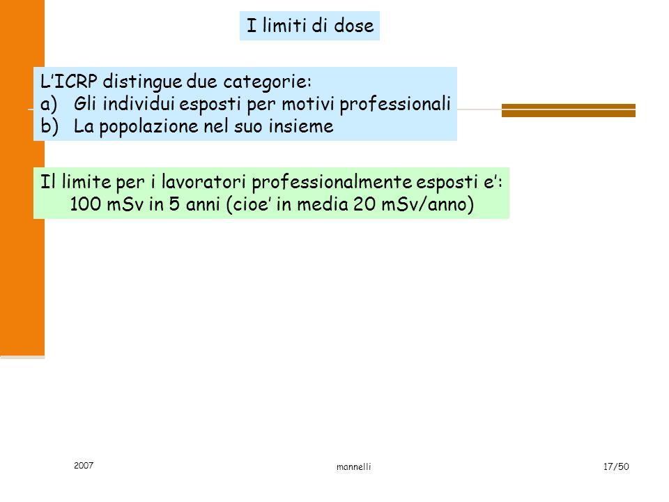 2007 mannelli17/50 Il limite per i lavoratori professionalmente esposti e': 100 mSv in 5 anni (cioe' in media 20 mSv/anno) I limiti di dose L'ICRP dis