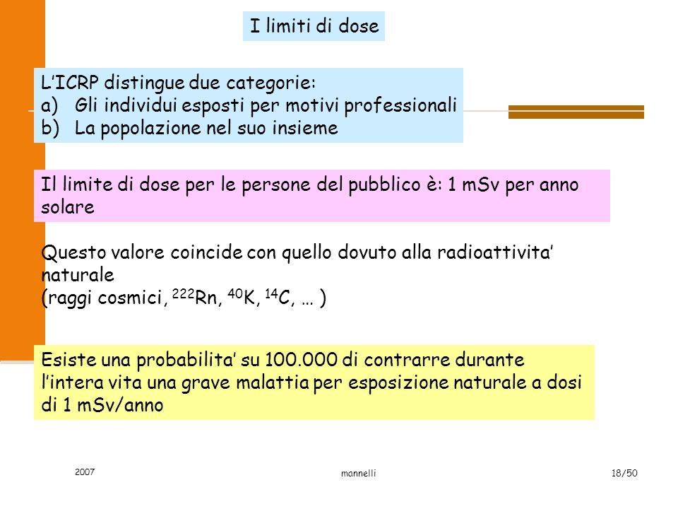 2007 mannelli18/50 I limiti di dose L'ICRP distingue due categorie: a)Gli individui esposti per motivi professionali b)La popolazione nel suo insieme