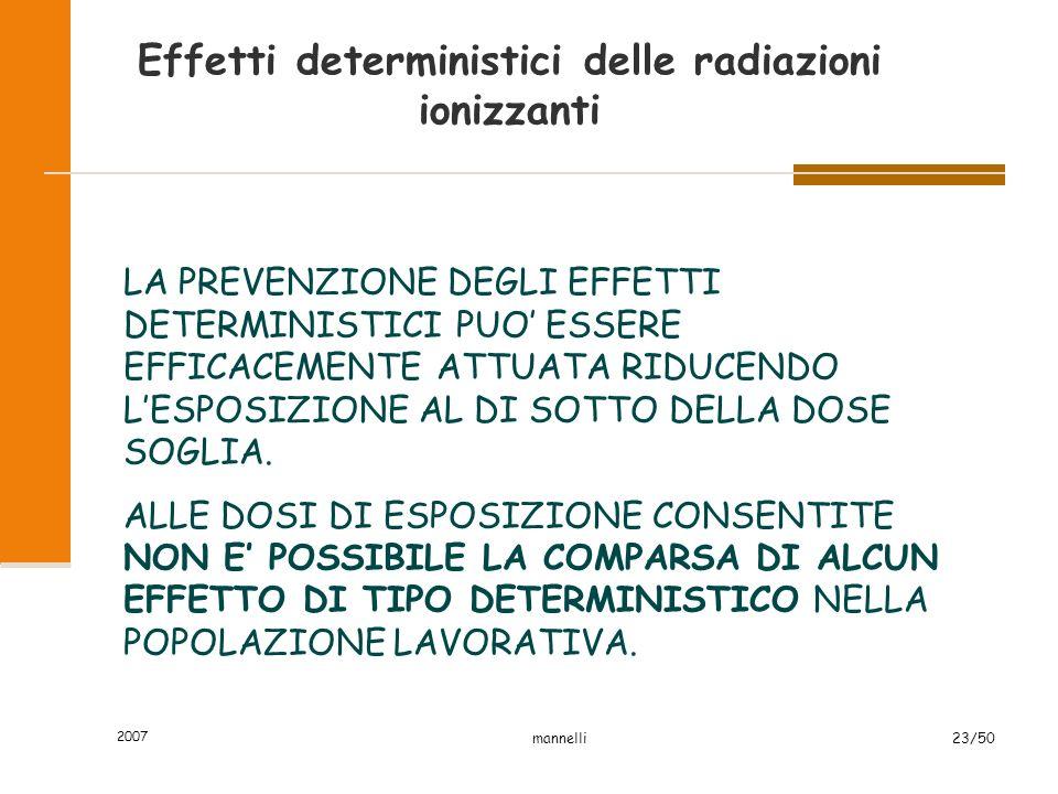 2007 mannelli23/50 Effetti deterministici delle radiazioni ionizzanti LA PREVENZIONE DEGLI EFFETTI DETERMINISTICI PUO' ESSERE EFFICACEMENTE ATTUATA RI