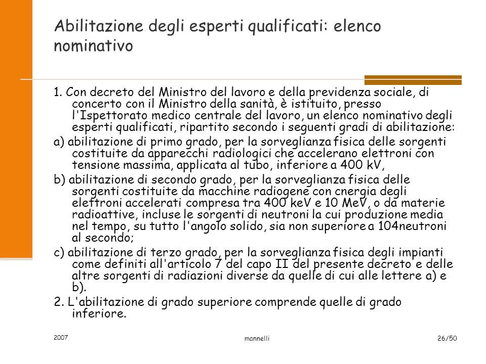 2007 mannelli26/50 Abilitazione degli esperti qualificati: elenco nominativo 1. Con decreto del Ministro del lavoro e della previdenza sociale, di con