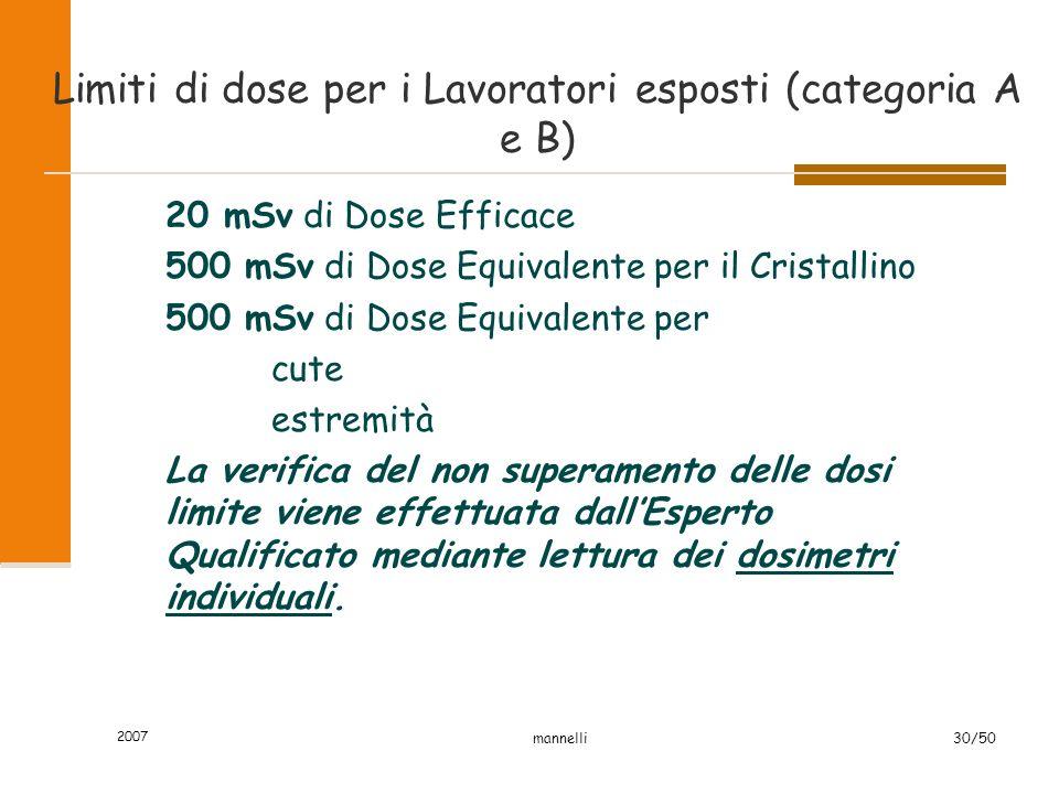 2007 mannelli30/50 Limiti di dose per i Lavoratori esposti (categoria A e B) 20 mSv di Dose Efficace 500 mSv di Dose Equivalente per il Cristallino 50