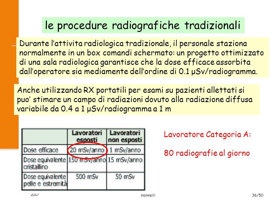 2007 mannelli36/50 le procedure radiografiche tradizionali Durante l'attivita radiologica tradizionale, il personale staziona normalmente in un box co