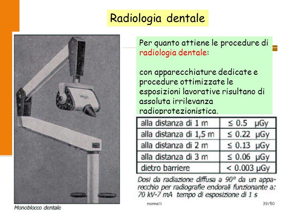 2007 mannelli39/50 Radiologia dentale Per quanto attiene le procedure di radiologia dentale: con apparecchiature dedicate e procedure ottimizzate le e