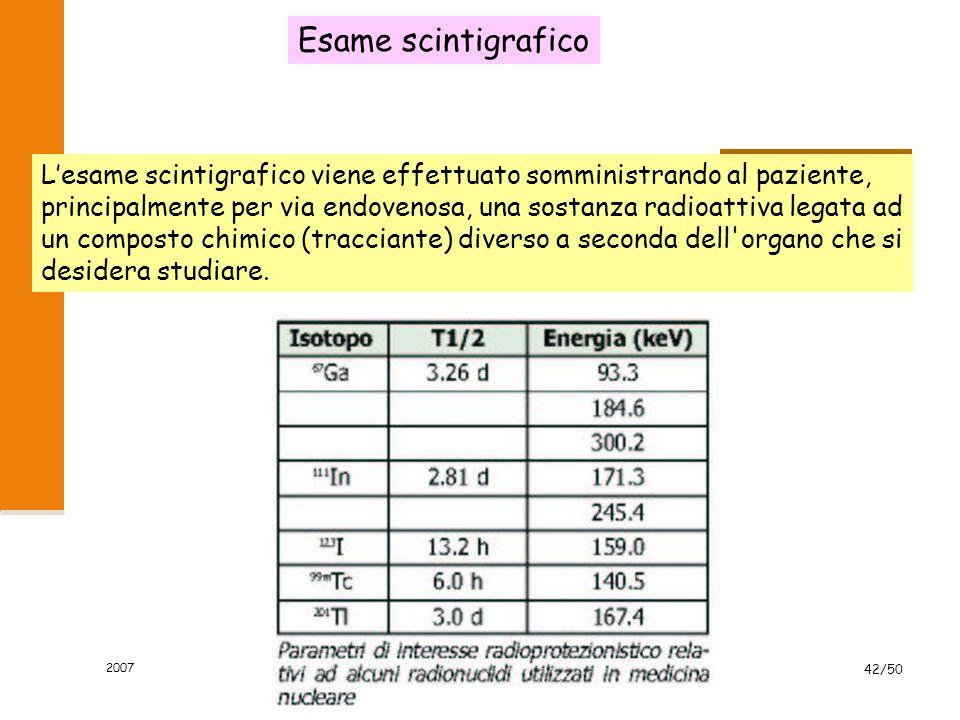 2007 mannelli42/50 Esame scintigrafico L'esame scintigrafico viene effettuato somministrando al paziente, principalmente per via endovenosa, una sosta