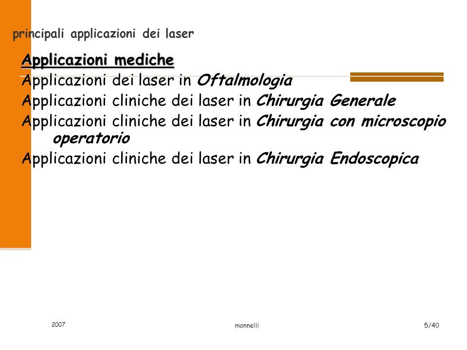 2007 mannelli5/40 principali applicazioni dei laser Applicazioni mediche Applicazioni dei laser in Oftalmologia Applicazioni cliniche dei laser in Chi