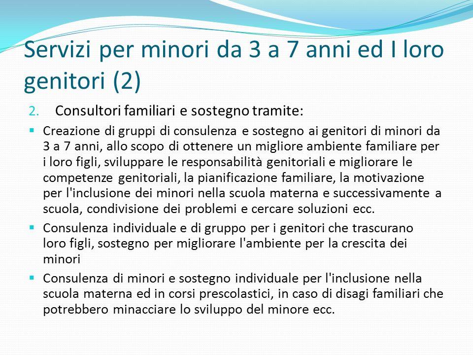 Servizi per minori da 3 a 7 anni ed I loro genitori (2) 2. Consultori familiari e sostegno tramite:  Creazione di gruppi di consulenza e sostegno ai