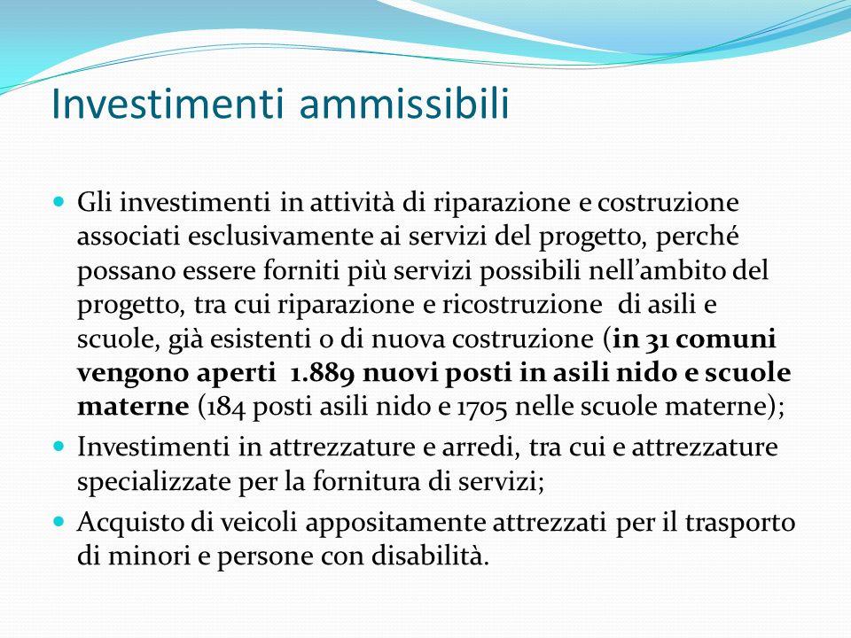 Investimenti ammissibili Gli investimenti in attività di riparazione e costruzione associati esclusivamente ai servizi del progetto, perché possano es