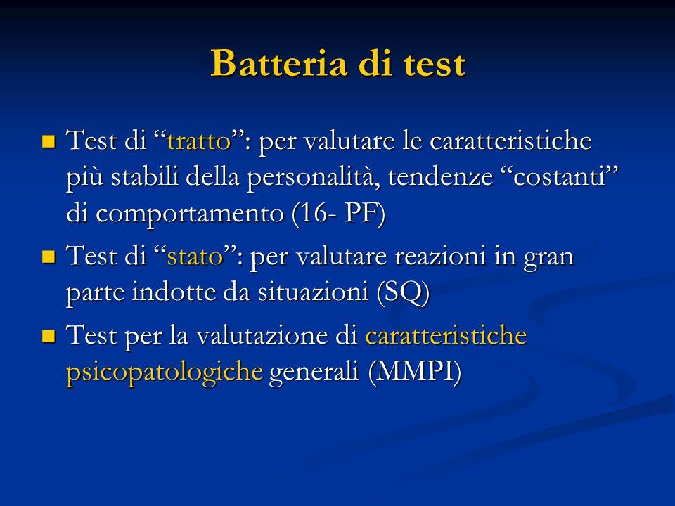 """Batteria di test Test di """"tratto"""": per valutare le caratteristiche più stabili della personalità, tendenze """"costanti"""" di comportamento (16- PF) Test d"""