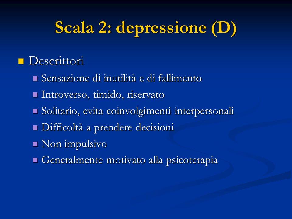 Scala 2: depressione (D) Descrittori Descrittori Sensazione di inutilità e di fallimento Sensazione di inutilità e di fallimento Introverso, timido, r