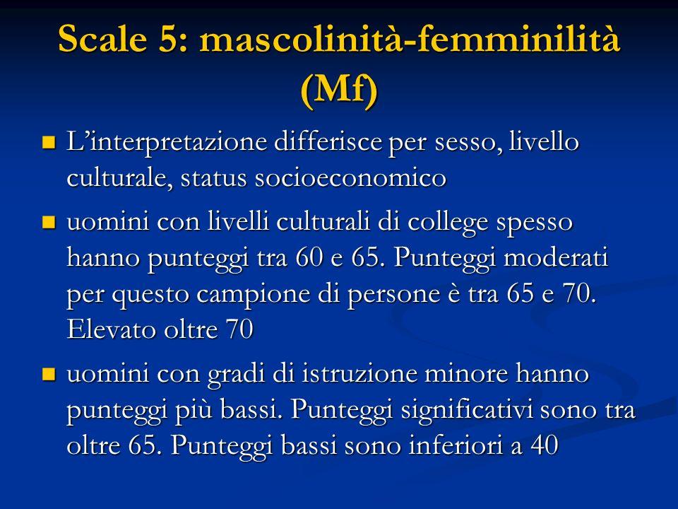 Scale 5: mascolinità-femminilità (Mf) L'interpretazione differisce per sesso, livello culturale, status socioeconomico L'interpretazione differisce pe