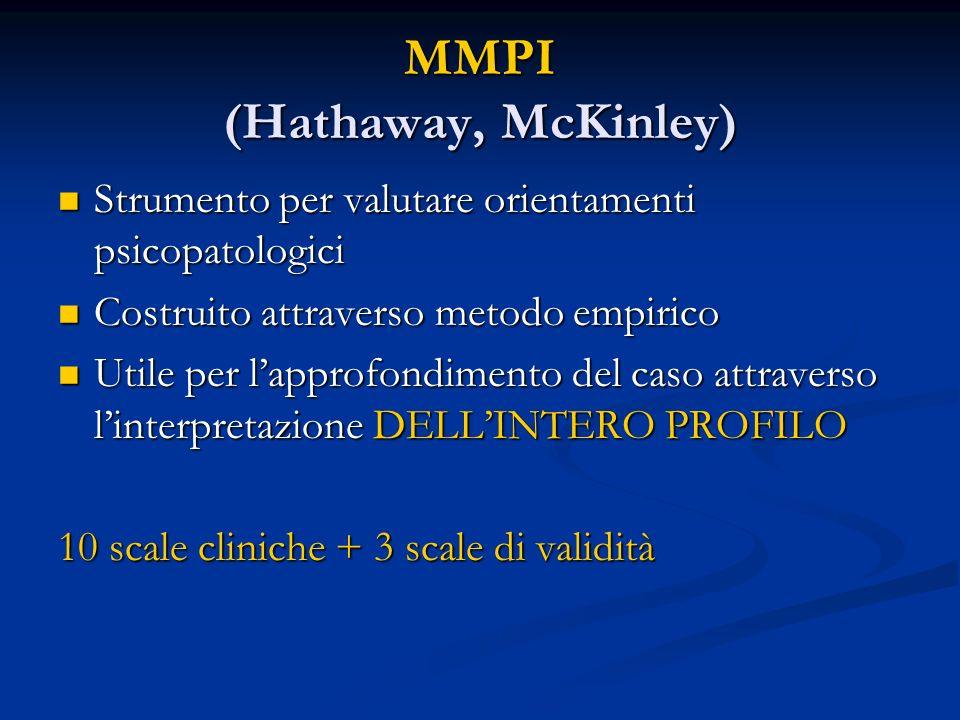 MMPI (Hathaway, McKinley) Strumento per valutare orientamenti psicopatologici Strumento per valutare orientamenti psicopatologici Costruito attraverso