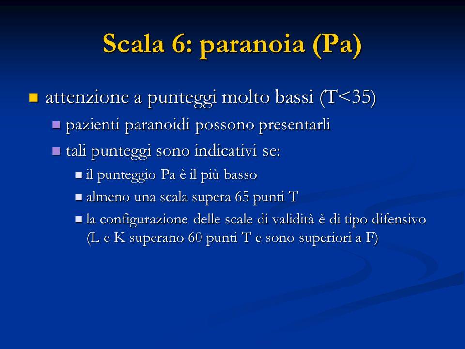 Scala 6: paranoia (Pa) attenzione a punteggi molto bassi (T<35) attenzione a punteggi molto bassi (T<35) pazienti paranoidi possono presentarli pazien