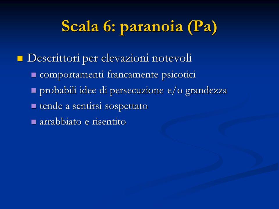 Scala 6: paranoia (Pa) Descrittori per elevazioni notevoli Descrittori per elevazioni notevoli comportamenti francamente psicotici comportamenti franc