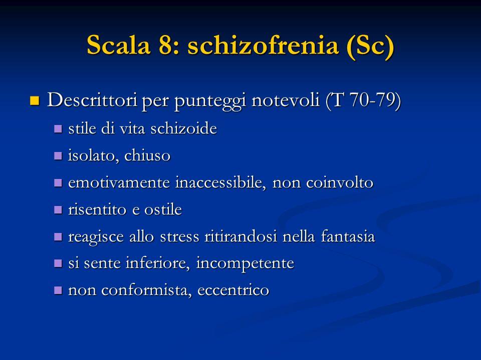 Scala 8: schizofrenia (Sc) Descrittori per punteggi notevoli (T 70-79) Descrittori per punteggi notevoli (T 70-79) stile di vita schizoide stile di vi