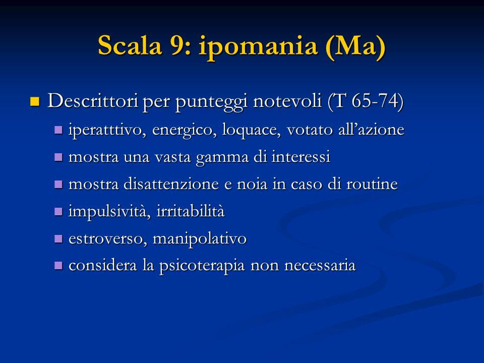 Scala 9: ipomania (Ma) Descrittori per punteggi notevoli (T 65-74) Descrittori per punteggi notevoli (T 65-74) iperatttivo, energico, loquace, votato