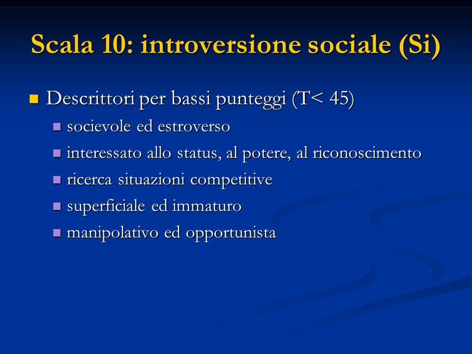 Scala 10: introversione sociale (Si) Descrittori per bassi punteggi (T< 45) Descrittori per bassi punteggi (T< 45) socievole ed estroverso socievole e