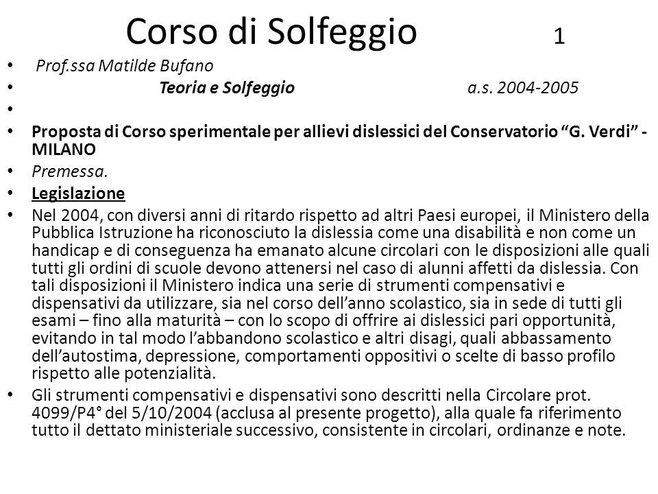 Corso di Solfeggio 1 Prof.ssa Matilde Bufano Teoria e Solfeggioa.s. 2004-2005 Proposta di Corso sperimentale per allievi dislessici del Conservatorio