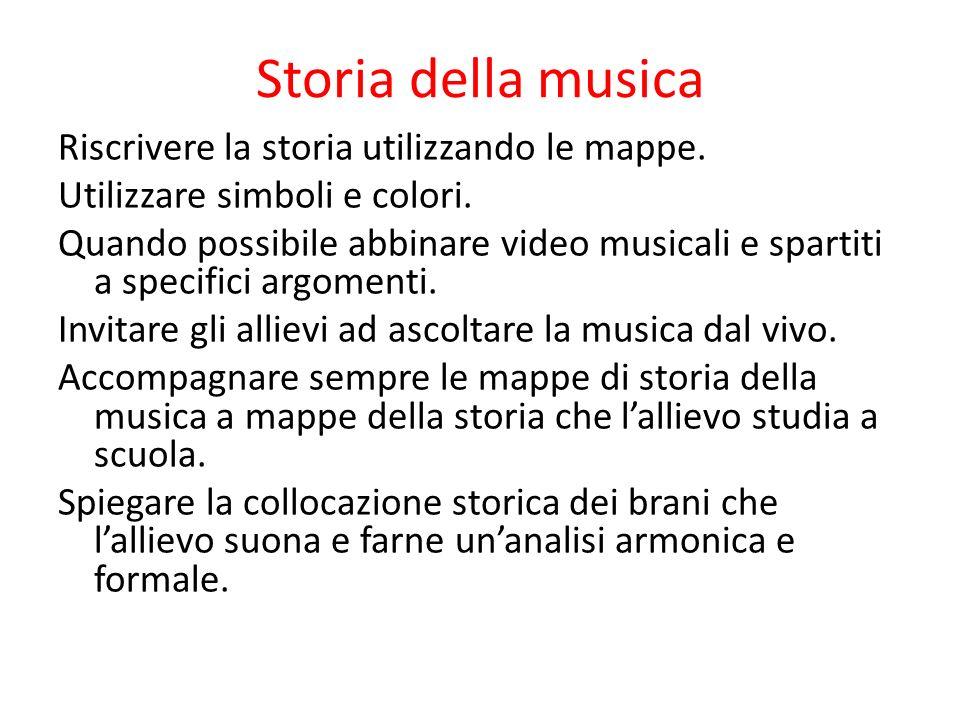 Storia della musica Riscrivere la storia utilizzando le mappe. Utilizzare simboli e colori. Quando possibile abbinare video musicali e spartiti a spec