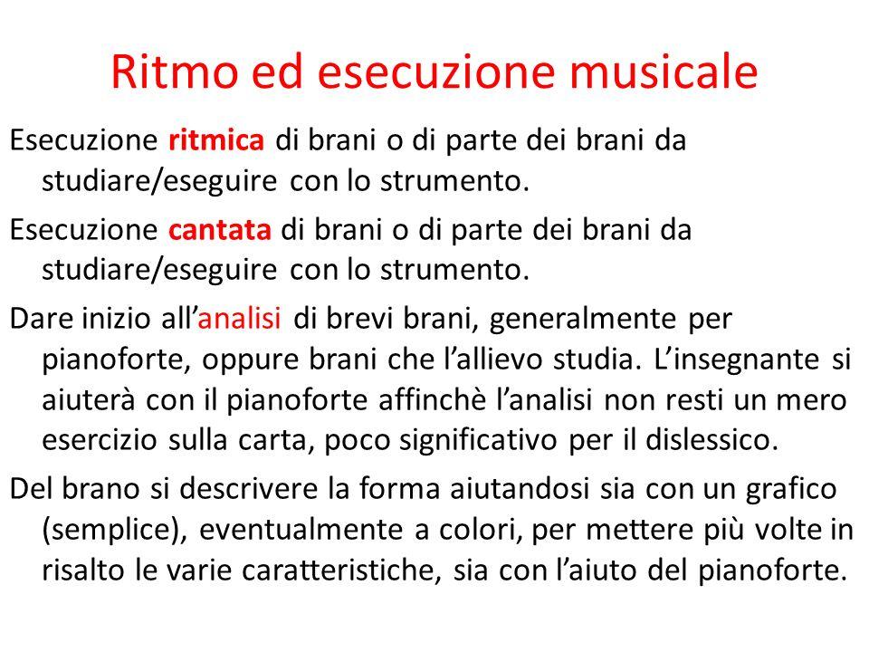 Ritmo ed esecuzione musicale Esecuzione ritmica di brani o di parte dei brani da studiare/eseguire con lo strumento. Esecuzione cantata di brani o di