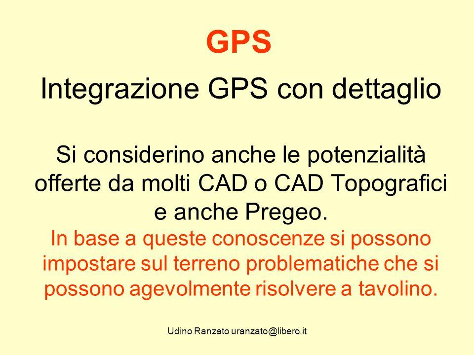 Udino Ranzato uranzato@libero.it Integrazione GPS con dettaglio In pratica tutto si riduce alla possibilità di creare, in prossimità del Punto o dei Punti da rilevare, almeno 2 Punti GPS.