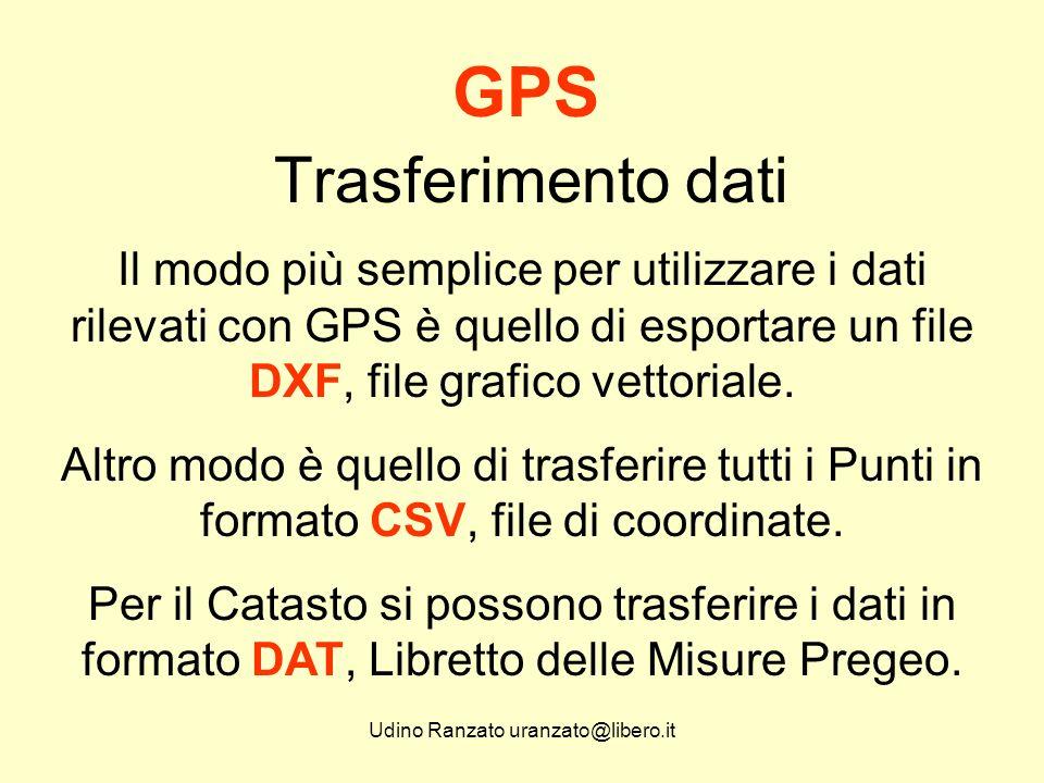 Udino Ranzato uranzato@libero.it Trasferimento dati GPS Quello che interessa in questa sede è che ogni software GPS deve avere integrata la possibilità di trasferire dati in formato GPS per Pregeo.