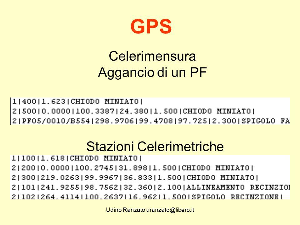 Udino Ranzato uranzato@libero.it Celerimensura ma non solo: Il GPS può essere utilizzato in tutti i casi di inquadramento e di appoggio per la realizzazione di reti, fotogrammetria terrestre e aerea, laserscanning, posizionamento, GIS - SIT.