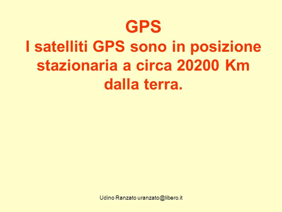 Udino Ranzato uranzato@libero.it GPS Stazioni di tracciamento a terra: Cape Canaveral, Isole Haway, Isola di Ascension, Isola Diego Garcia, Isola di Kwayalein e Colorado Spring