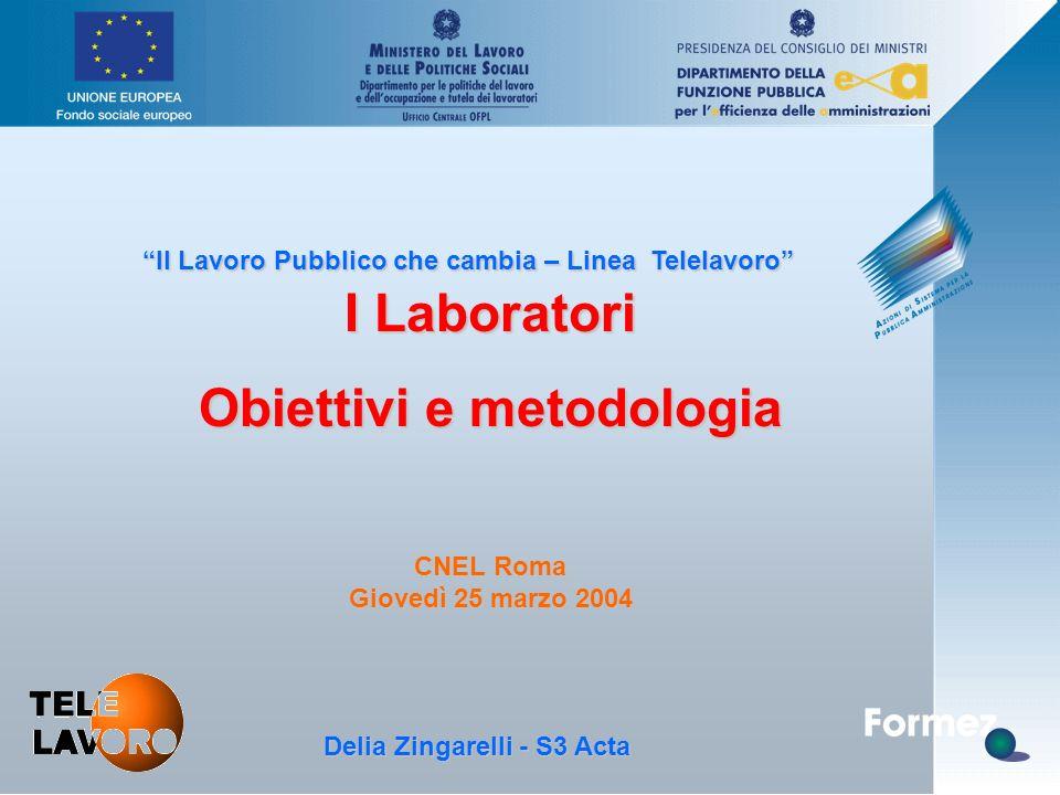 """D. Zingarelli, S3 Acta - 25.3.04 """"Il Lavoro Pubblico che cambia – Linea Telelavoro"""" I Laboratori Obiettivi e metodologia CNEL Roma Giovedì 25 marzo 20"""