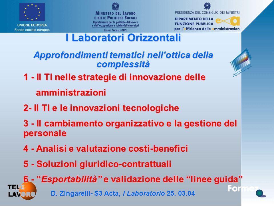 D. Zingarelli, S3 Acta - 25.3.04 I Laboratori Orizzontali Approfondimenti tematici nell'ottica della complessità D. Zingarelli- S3 Acta, I Laboratorio