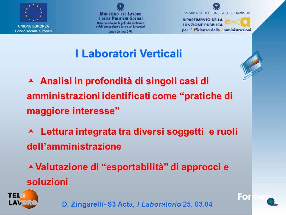 D.Zingarelli, S3 Acta - 25.3.04 I Laboratori Verticali D.