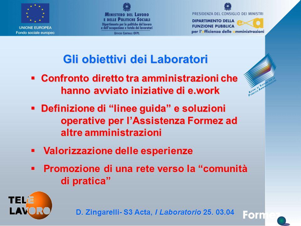 D. Zingarelli, S3 Acta - 25.3.04 Gli obiettivi dei Laboratori § Confronto diretto tra amministrazioni che hanno avviato iniziative di e.work § Definiz