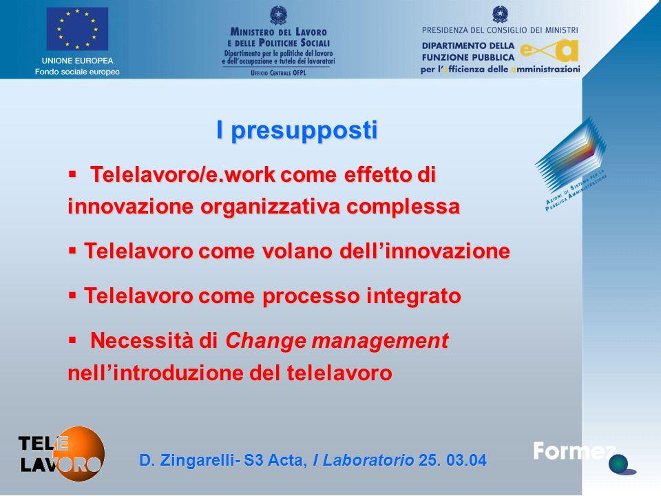 D. Zingarelli, S3 Acta - 25.3.04 I presupposti § Telelavoro/e.work come effetto di innovazione organizzativa complessa § Telelavoro come volano dell'i