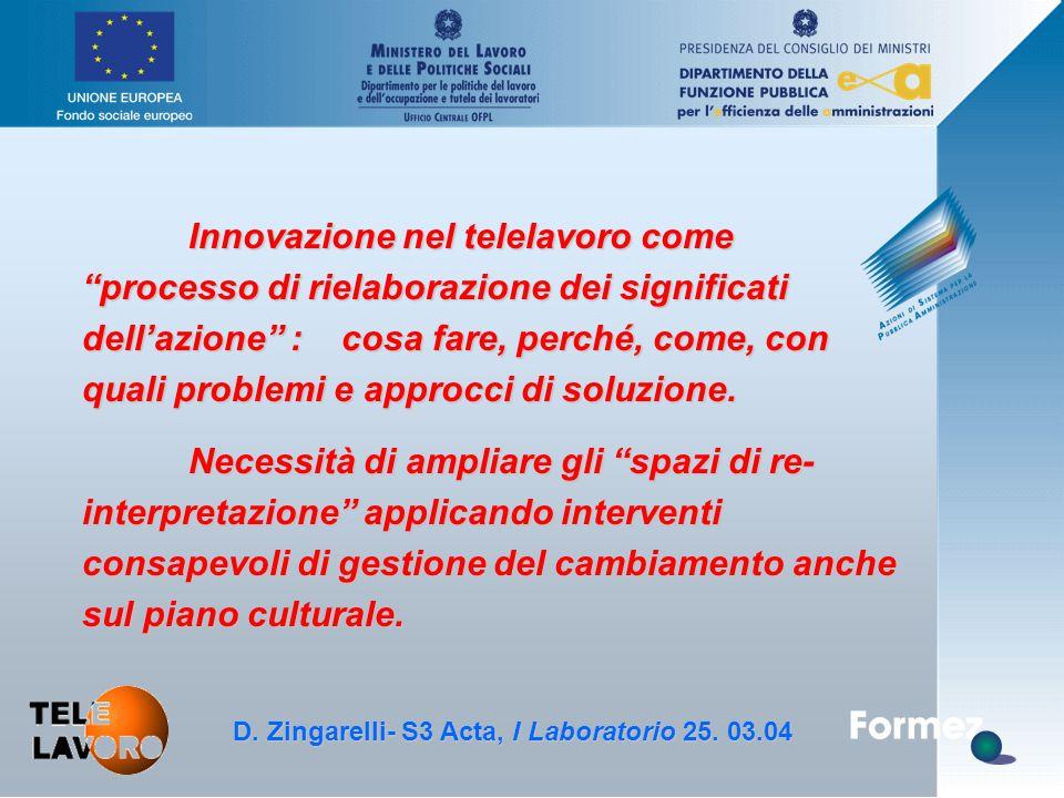 """D. Zingarelli, S3 Acta - 25.3.04 Innovazione nel telelavoro come """"processo di rielaborazione dei significati dell'azione"""" : cosa fare, perché, come, c"""