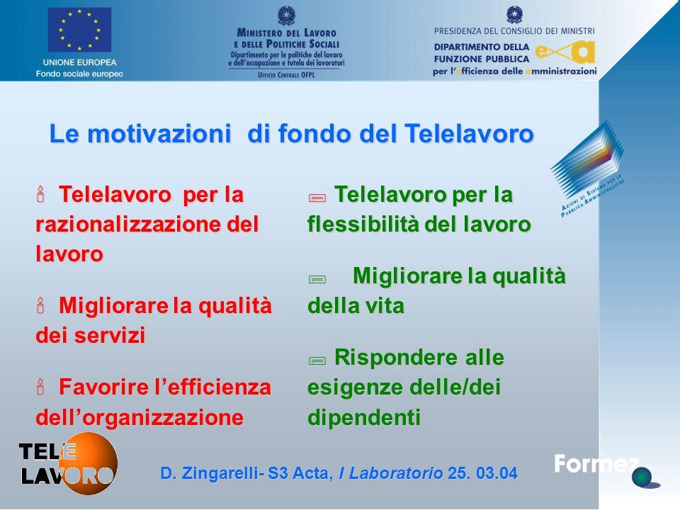 D. Zingarelli, S3 Acta - 25.3.04 Le motivazioni di fondo del Telelavoro ' Telelavoro per la razionalizzazione del lavoro ' Migliorare la qualità dei s