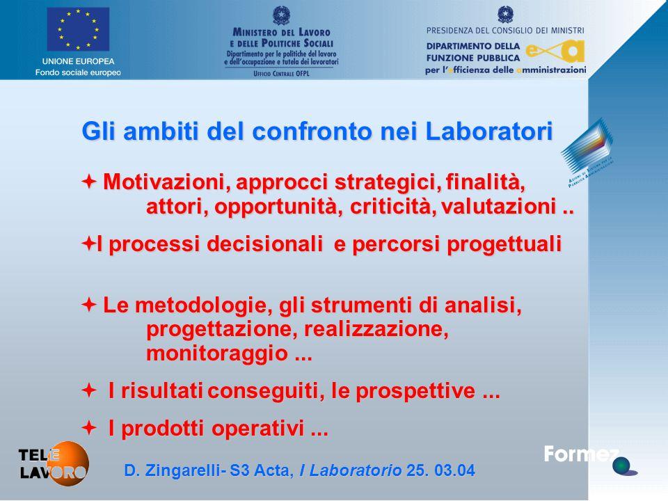 D. Zingarelli, S3 Acta - 25.3.04 Gli ambiti del confronto nei Laboratori ª Motivazioni, approcci strategici, finalità, attori, opportunità, criticità,