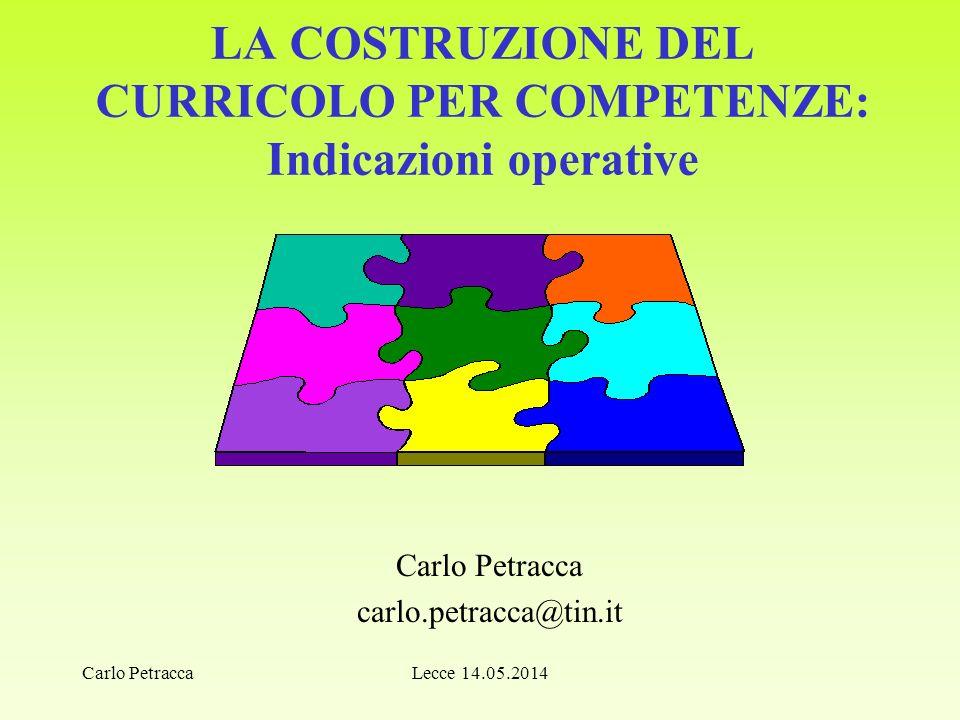 LA COSTRUZIONE DEL CURRICOLO PER COMPETENZE: Indicazioni operative Carlo Petracca carlo.petracca@tin.it Lecce 14.05.2014Carlo Petracca