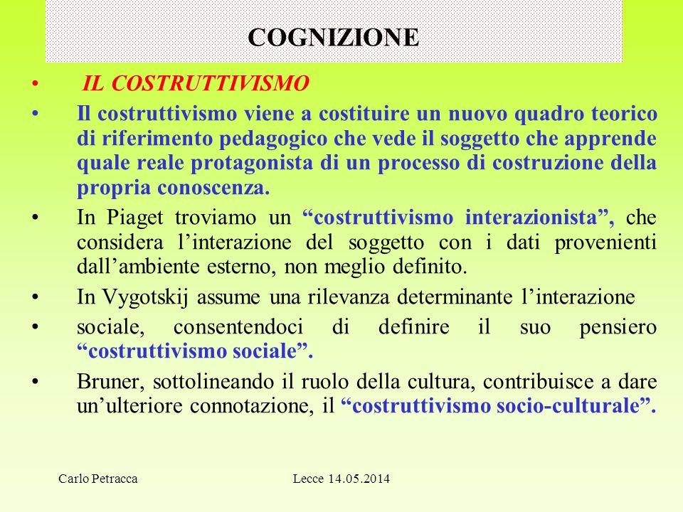 COGNIZIONE IL COSTRUTTIVISMO Il costruttivismo viene a costituire un nuovo quadro teorico di riferimento pedagogico che vede il soggetto che apprende quale reale protagonista di un processo di costruzione della propria conoscenza.