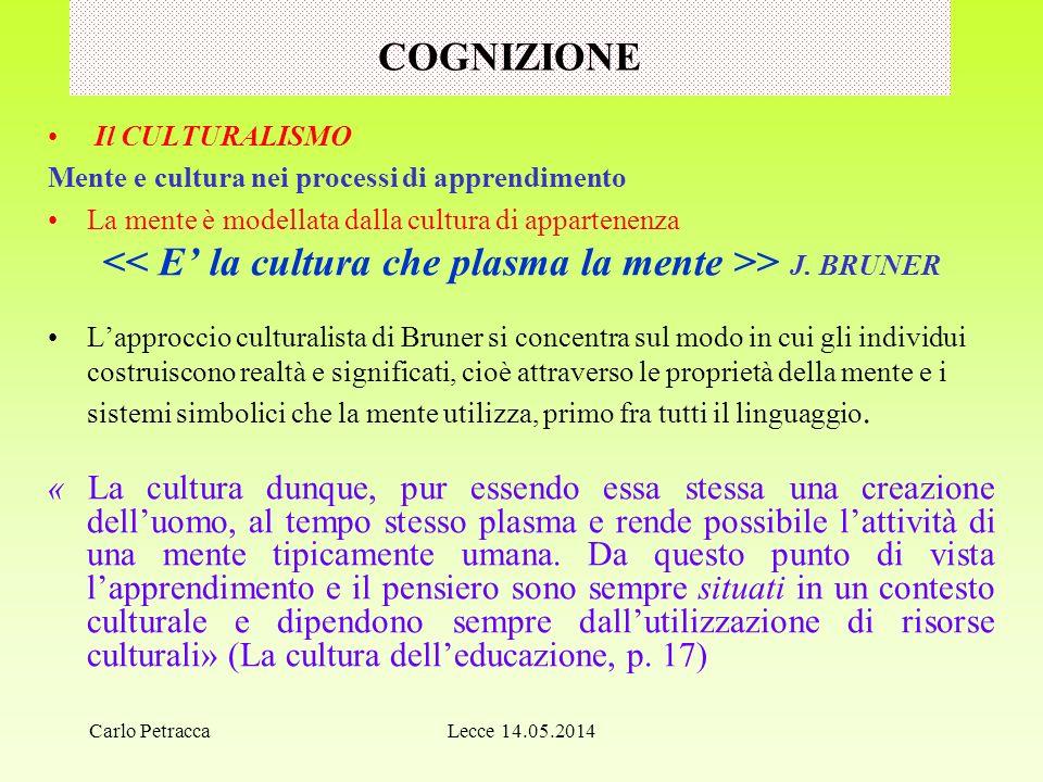 COGNIZIONE Il CULTURALISMO Mente e cultura nei processi di apprendimento La mente è modellata dalla cultura di appartenenza > J.