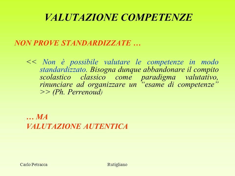 VALUTAZIONE COMPETENZE NON PROVE STANDARDIZZATE … > (Ph. Perrenoud ) … MA VALUTAZIONE AUTENTICA RutiglianoCarlo Petracca