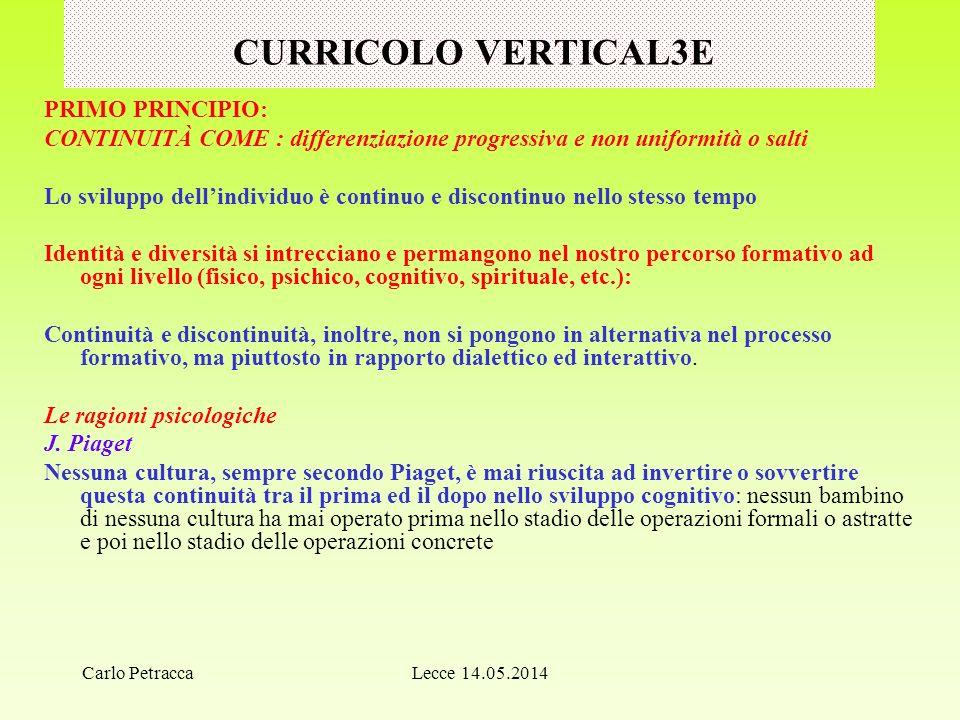 CURRICOLO VERTICAL3E PRIMO PRINCIPIO: CONTINUITÀ COME : differenziazione progressiva e non uniformità o salti Lo sviluppo dell'individuo è continuo e
