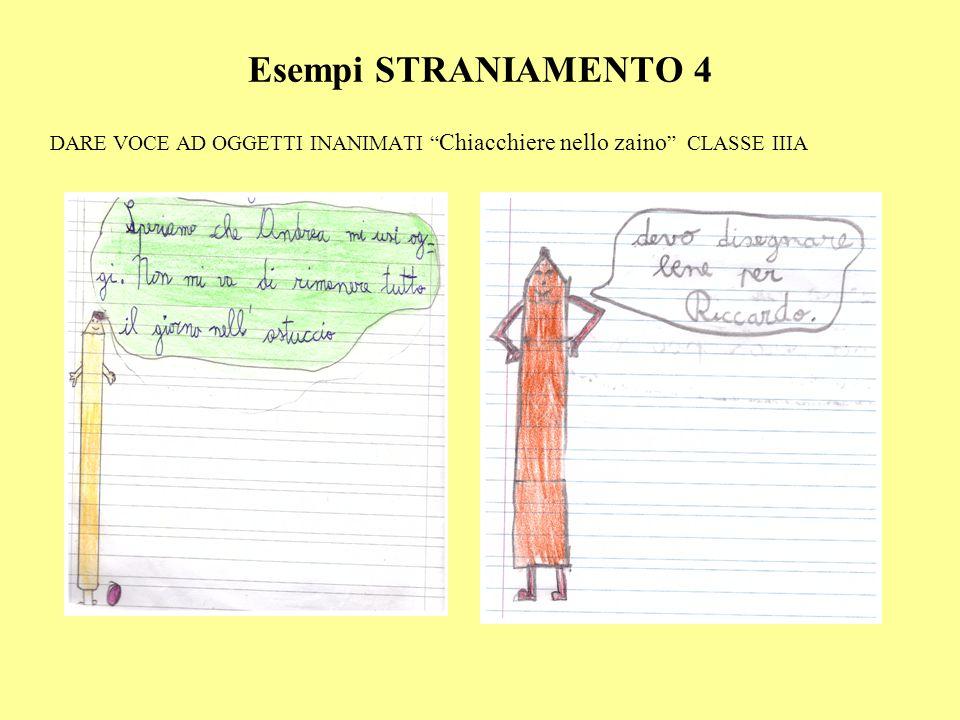 """Esempi STRANIAMENTO 4 DARE VOCE AD OGGETTI INANIMATI """" Chiacchiere nello zaino """" CLASSE IIIA"""