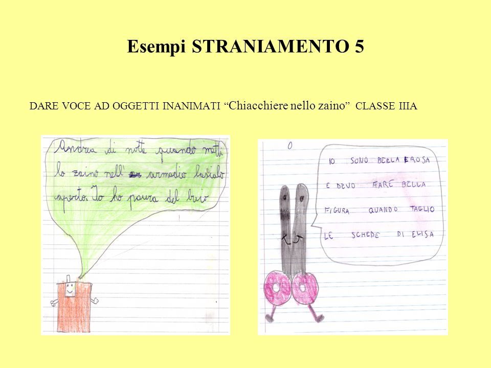 """Esempi STRANIAMENTO 5 DARE VOCE AD OGGETTI INANIMATI """" Chiacchiere nello zaino """" CLASSE IIIA"""