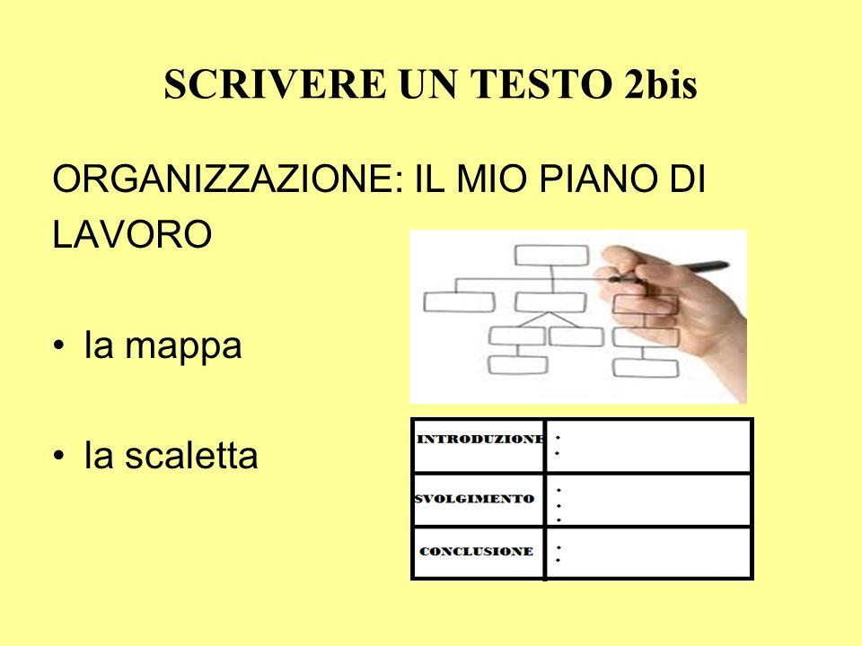 ORGANIZZAZIONE: IL MIO PIANO DI LAVORO la mappa la scaletta SCRIVERE UN TESTO 2bis