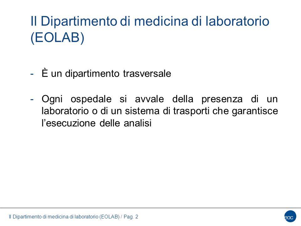 Il Dipartimento di medicina di laboratorio (EOLAB) / Pag. 2 Il Dipartimento di medicina di laboratorio (EOLAB) -È un dipartimento trasversale -Ogni os