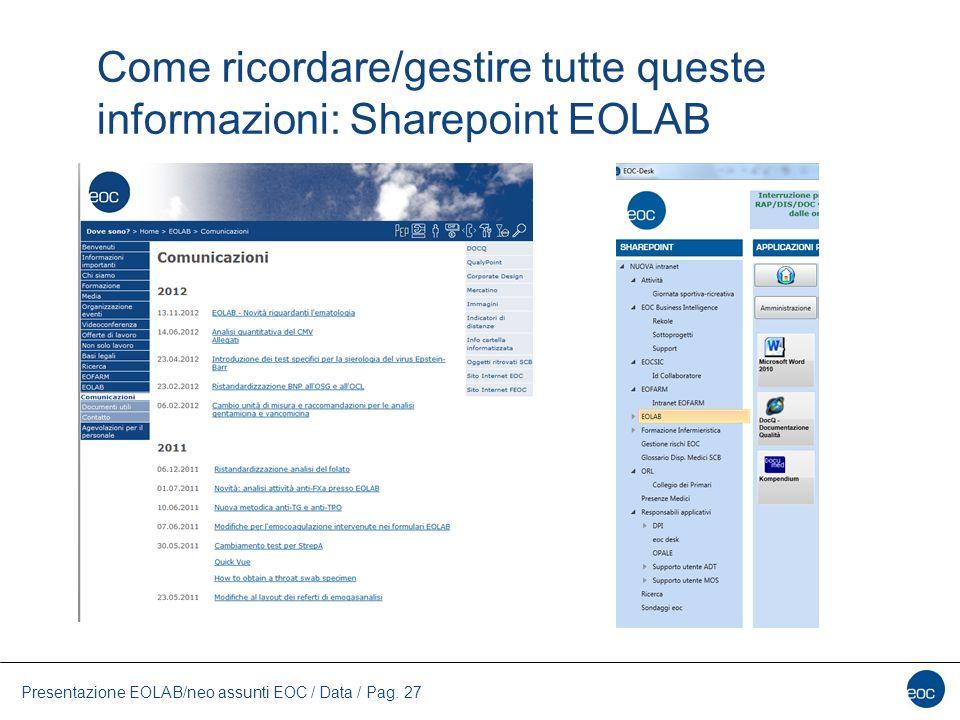 Come ricordare/gestire tutte queste informazioni: Sharepoint EOLAB Presentazione EOLAB/neo assunti EOC / Data / Pag. 27