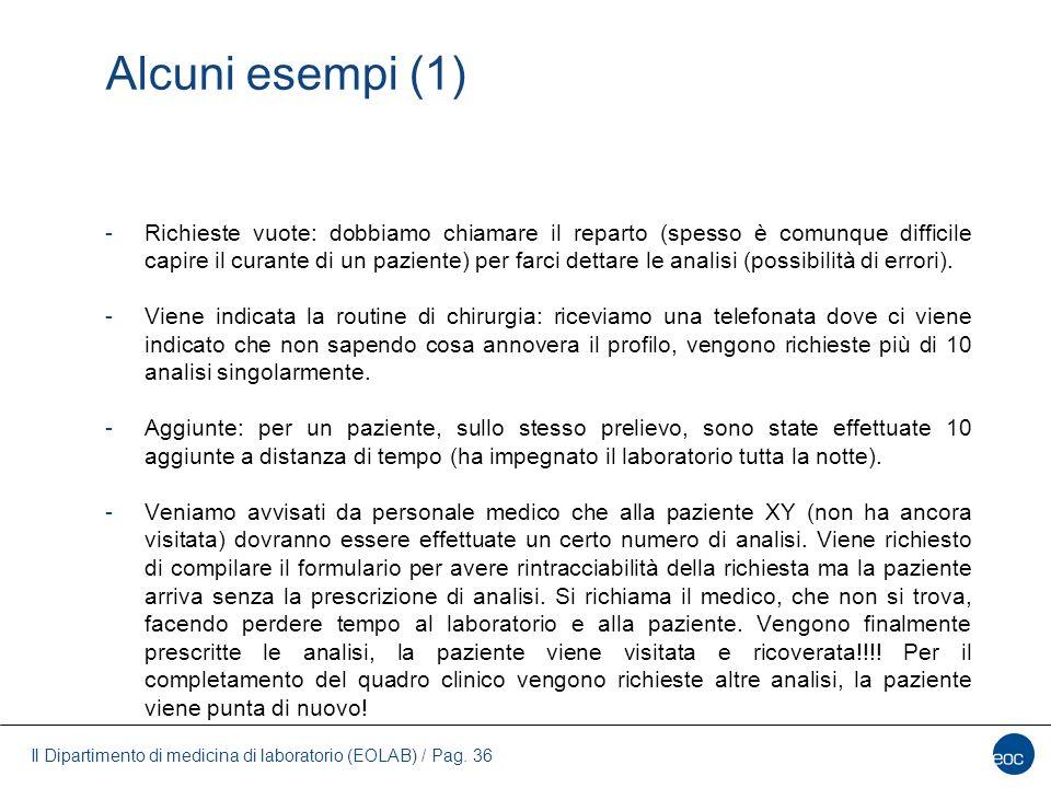 Il Dipartimento di medicina di laboratorio (EOLAB) / Pag. 36 Alcuni esempi (1) -Richieste vuote: dobbiamo chiamare il reparto (spesso è comunque diffi