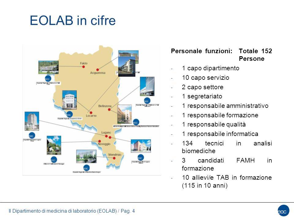 Il Dipartimento di medicina di laboratorio (EOLAB) / Pag. 4 EOLAB in cifre Personale funzioni: Totale 152 Persone - 1 capo dipartimento - 10 capo serv