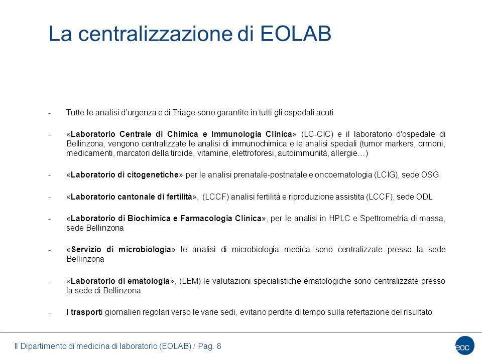 Il Dipartimento di medicina di laboratorio (EOLAB) / Pag. 8 La centralizzazione di EOLAB -Tutte le analisi d'urgenza e di Triage sono garantite in tut