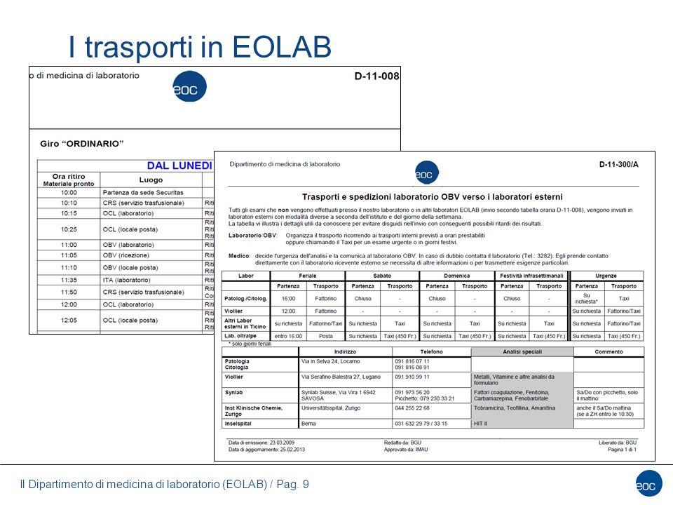 Il Dipartimento di medicina di laboratorio (EOLAB) / Pag. 9 I trasporti in EOLAB