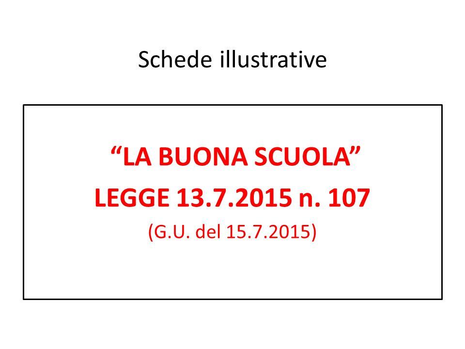Schede illustrative LA BUONA SCUOLA LEGGE 13.7.2015 n. 107 (G.U. del 15.7.2015)